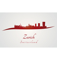 Zurich skyline in red vector image vector image
