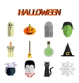 Halloween flat icon set vector image