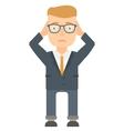 Bankrupt businessman clutching his head vector image vector image