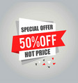 big sale tags with sale 50 percent text on square vector image vector image