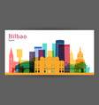 bilbao city architecture silhouette colorful vector image vector image