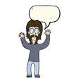 cartoon hippie man waving arms with speech bubble vector image vector image