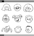 children faces characters set vector image vector image