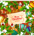 christmas banner with xmas tree and new year gift vector image vector image