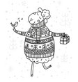christmas coloring page with cute sheep vector image