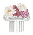 classic antique marble column with flowers vector image vector image