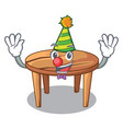 clown wooden table isolated on the mascot vector image