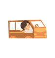 cute creative boy character driving toy car made vector image vector image