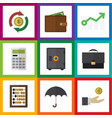 flat icon incoming set of billfold strongbox vector image vector image