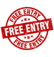 free entry round red grunge stamp vector image vector image