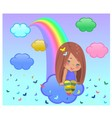 Girl and rainbow vector image vector image