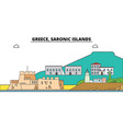 greece saronic islands city skyline vector image vector image