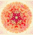 hand drawn ethnic circular pink ornament vector image