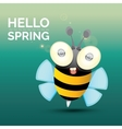 Hello spring cartoon cute bright baby bee vector image