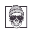 Hipster skull sunglasses and hat vector image vector image
