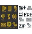 icons set zip pdf foto industrial icons vector image vector image