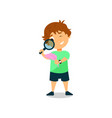 little boy looking through magnifying glass vector image vector image