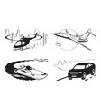 luxury vehicles air water and on road vector image vector image