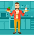 Man with apple and cake vector image
