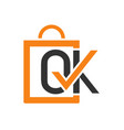 ok shop logo design vector image