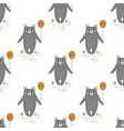 pattern with cartoon bear vector image