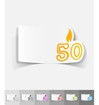 realistic design element candle fifty vector image