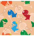 seamless colourful dinosaurs and bones vector image