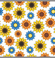seamless pattern with cartoon colored flowers vector image
