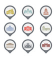 set of italy symbols landmarks in black and white vector image vector image