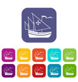 ship of columbus icons set vector image vector image