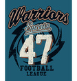 Sports Warriors Football league distressed print vector image
