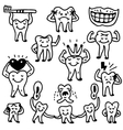 teeth doodles vector image vector image