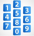 Ten blue 3d banners with numbers vector image vector image