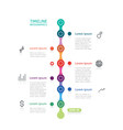 timeline infographics with six points vector image