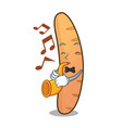 with trumpet baguette mascot cartoon style vector image vector image