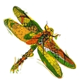 Zentangle stylized dragonfly with abstract vector image vector image