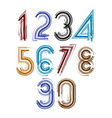 Calligraphic brush numbers with stripes vector image
