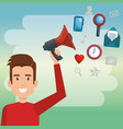 young man with megaphone character vector image