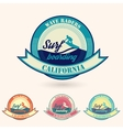 retro California surfing logo for t-shirt or vector image