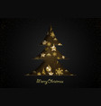 abstract christmas tree cut out paper on black vector image