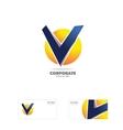 Alphabet letter v sphere logo icon vector image vector image