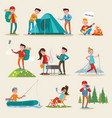 backpacking and camping tourism set vector image vector image