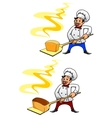 Baker with a loaf of bread vector image vector image