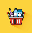 basket shopping bottle drink box milk vector image