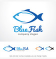 blue fish logo template design vector image