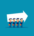 business team carrying arrow sign concept vector image