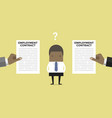 businessman with two employment contract vector image vector image