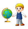 cartoon boy showing the globe vector image