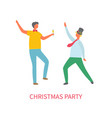 christmas party two drunk men dancing at fest vector image