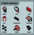 cyber monday color isometric icons vector image vector image
